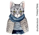 Stock photo cute cat watercolor hand drawn illustration 744667846