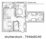 floor plan with furniture in... | Shutterstock .eps vector #744668140