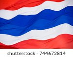 thailand national flag with red ... | Shutterstock . vector #744672814