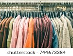 second hand pullover clothes... | Shutterstock . vector #744673384