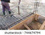 pouring concrete slab  ...   Shutterstock . vector #744674794