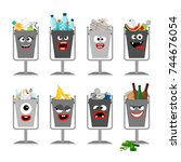 garbage cans with trash for... | Shutterstock .eps vector #744676054