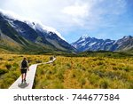 walking along the great winding ... | Shutterstock . vector #744677584