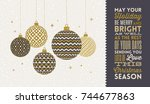 christmas greeting card  ... | Shutterstock .eps vector #744677863