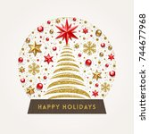 decorative snow globe... | Shutterstock .eps vector #744677968