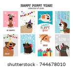 Stock vector happy new year puppy cards cute and funny dogs with christmas decorations vector illustration 744678010