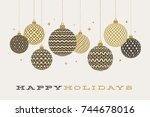 christmas greeting card  ... | Shutterstock .eps vector #744678016