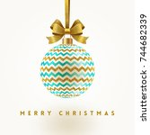 christmas greeting card  ... | Shutterstock .eps vector #744682339