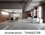 open space office interior with ... | Shutterstock . vector #744682708