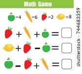 mathematics educational game... | Shutterstock .eps vector #744683359