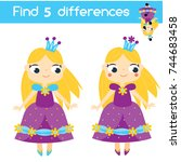 find the differences... | Shutterstock .eps vector #744683458