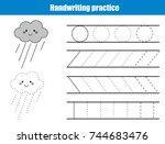 handwriting practice sheet....   Shutterstock .eps vector #744683476