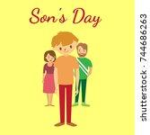 son's day. family icon. vector...   Shutterstock .eps vector #744686263
