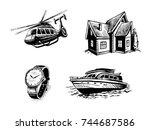 vector icon set for elite site. ... | Shutterstock .eps vector #744687586