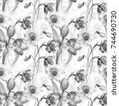 seamless wallpaper with tulip... | Shutterstock . vector #744690730