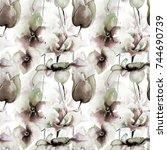 seamless wallpaper with summer... | Shutterstock . vector #744690739