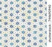 native batik watercolor... | Shutterstock . vector #744690940