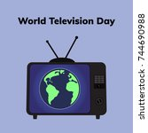 world television day. flat... | Shutterstock .eps vector #744690988