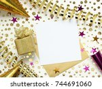 gold and purple party... | Shutterstock . vector #744691060