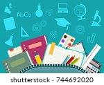 school. satchel and school... | Shutterstock . vector #744692020