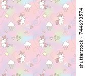 cute little unicorn seamless... | Shutterstock .eps vector #744693574