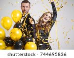 couple dancing among falling...   Shutterstock . vector #744695836