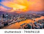 beautiful sunset over london ... | Shutterstock . vector #744696118