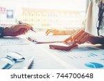 business people meeting... | Shutterstock . vector #744700648