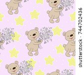 cute seamless pattern with... | Shutterstock .eps vector #744702436