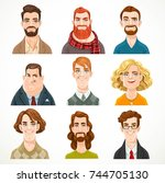 set of portraits of avatars of... | Shutterstock .eps vector #744705130
