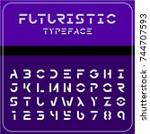 modern futuristic sci fi font.... | Shutterstock .eps vector #744707593