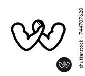 arm wrestling logo. letter w... | Shutterstock .eps vector #744707620
