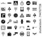 hard traffic icons set. simple... | Shutterstock . vector #744707728