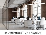 open space office interior with ... | Shutterstock . vector #744712804