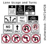 regulatory traffic sign. lane... | Shutterstock .eps vector #744714928