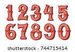 hand drawn   vintage color... | Shutterstock .eps vector #744715414