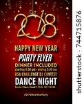 2018 happy new year background... | Shutterstock . vector #744715876