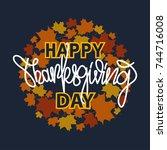 thanksgiving typography banner. ... | Shutterstock .eps vector #744716008