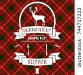 burns night card with deer and... | Shutterstock .eps vector #744717223