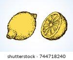 tasty ripe fresh flavored sappy ... | Shutterstock .eps vector #744718240