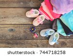 baby shoes  clothing and... | Shutterstock . vector #744718258