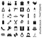 woman icons set. simple style... | Shutterstock . vector #744718690