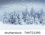 starry sky in winter snowy... | Shutterstock . vector #744721390