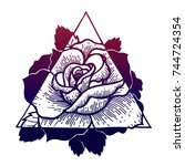 tattoos rose flower with... | Shutterstock .eps vector #744724354