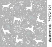 beautiful christmas seamless...   Shutterstock .eps vector #744724804