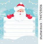 santa claus with white wooden... | Shutterstock .eps vector #744725056