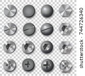 set of screws and bolts on... | Shutterstock .eps vector #744726340