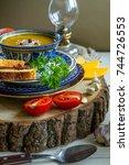 ceramics bowl with homemade...   Shutterstock . vector #744726553