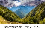 wild landscape of the inca... | Shutterstock . vector #744727153