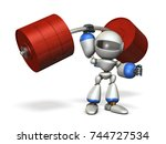 the cute robot can easily lift... | Shutterstock . vector #744727534